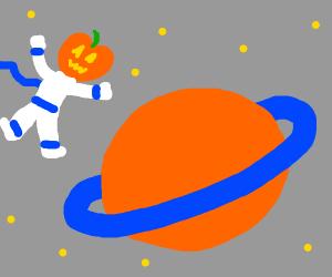 Jackolantern head boy explores Saturn