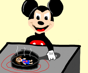 Mickey Mouse cooking a girl