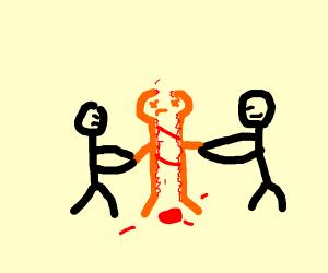 orange torn apart