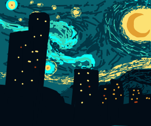 starry night painting but modern buildings