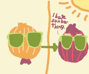 Sunbathing onion
