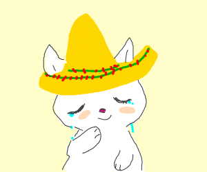 White cat cries happily, wearing a sombrero