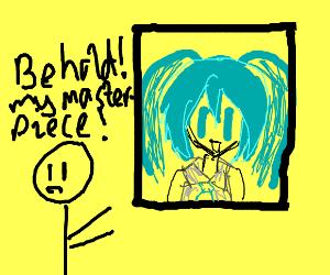 Artist shows his Hatsune Miku piece