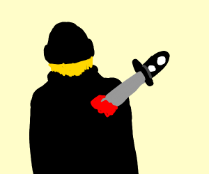 guy dressed in black being stabbed