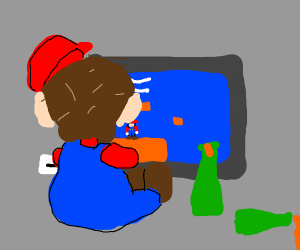 drunk mario playing a video game of himself