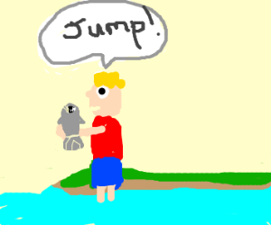 Boy tells fish to jump