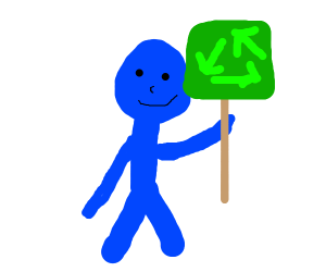 blue man cares a lot about recylcing