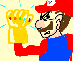 Mario has the infinity gauntlet