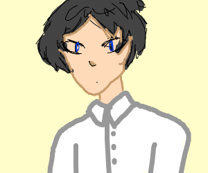 Anime Guy With Dark Grey Hair Blue Eyes Drawception