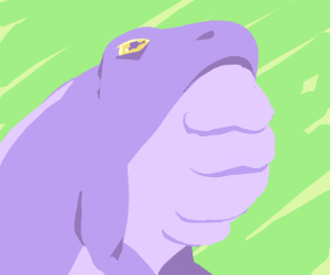 Purple frog with lots of chins