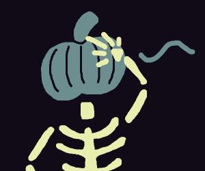 Spooky scary skeleton w/ pumpkin on its head