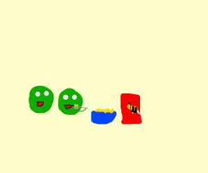 Peas eat Cheerios