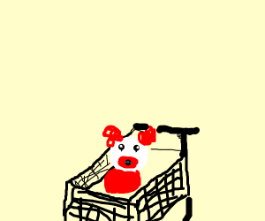 clown baby in shopping cart