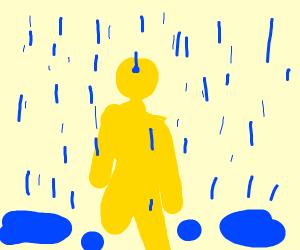 yellow stickman running in the streets rainin