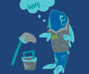 blue janitor fish sad he doesn't have arms