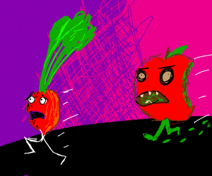 rad radish flees from moldy apple