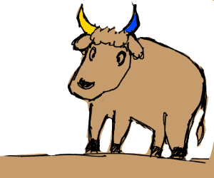 Blue and yellow horned bull with adorable ear