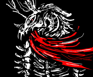 cloaked demon with ram skull and antlers