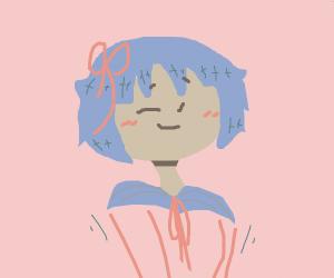 Blue haired anime school girl