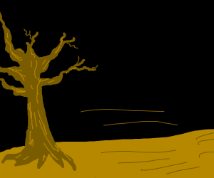 lonely, dying tree in the wasteland