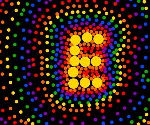 "Colorful dot art ""E"""