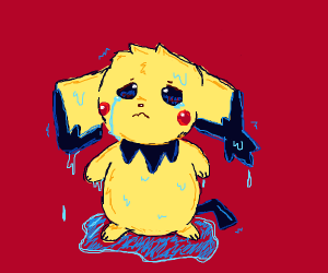 Pichu is wet, and sad about it