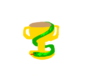 a snake wrapped around a trophy, nice drawing