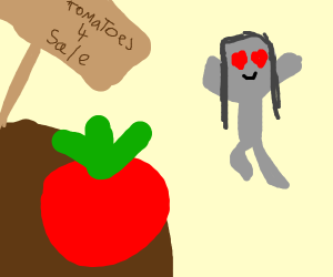 a gray girl in love with a tomato