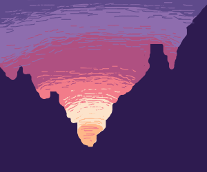 A canyon sunset with cool rock formations