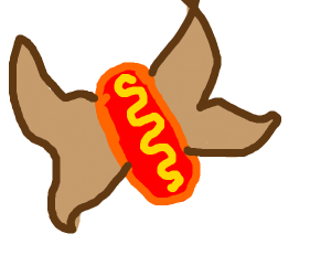 Butterfly and hotdog