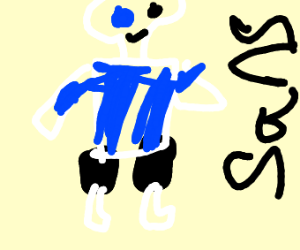 skelaton wearing blue jacket and black shorts