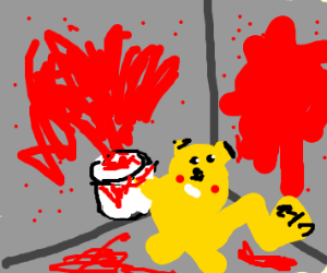 Pikachu snaps red paint everywhere