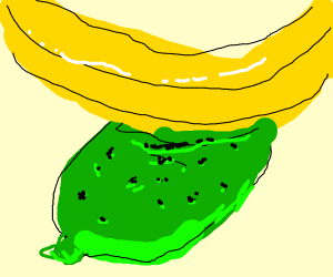 Lime wearing a banana hat