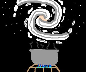 Person cooks a galaxy