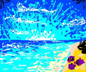 Three Shellders on blue beach.