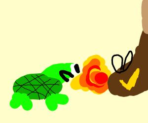 Fire breathing turtle attacks man's shoe