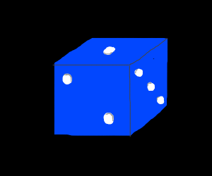 A blue die with white spots.