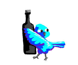 A blue bird holding a black bottle