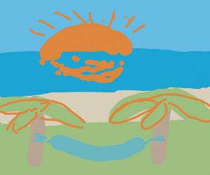 sun (coming up) at an (palmtree)island