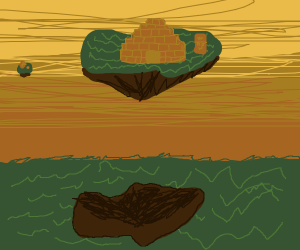 Ancient ruins on flying islands