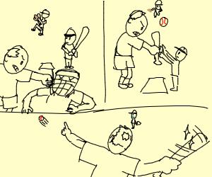 crazy baseball dad hits ref & then a homerun