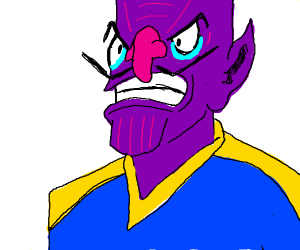 Waluigi cosplays as Thanos