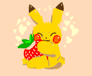 Pikachu with a strawberry