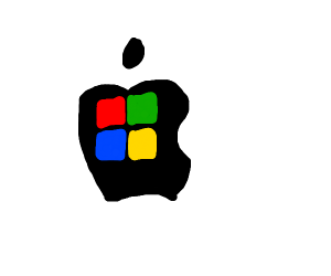 Apple with Microsoft logo on it