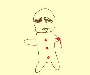 Gingerbread man ate his hand