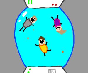 3 people in an anti-gravity pod