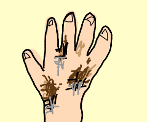 a dirty hand with sausage fingers