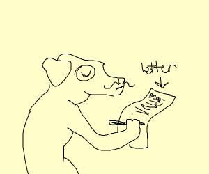 Doggo with letter