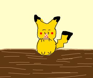 Pikachu eating pizza