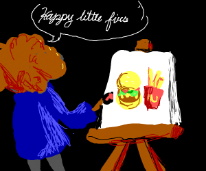 bob ross paints burgers and fries